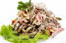 Салат из свиного сердца с болгарским перцем и чесноком, рецепт с фото