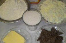 Рецепт: Печенье «Творожные треугольники с шоколадом» — в духовке