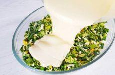 Ленивый пирог с зеленым луком и яйцом