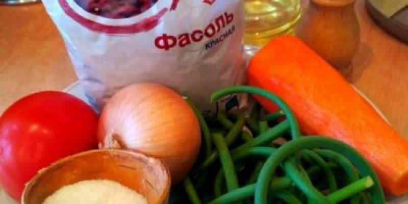 Рецепт: Фасоль с жареными овощами — С жареными стрелками зимнего чеснока
