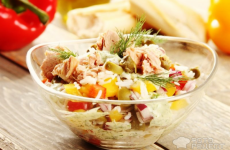 Рецепт: Рисовый салат с тунцом — с рисом и тунцом
