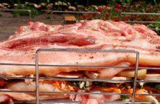 Свиная грудинка с курицей, сыром и овощами на решетке на углях, рецепт с фото и видео