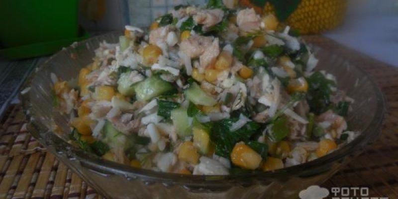 Рецепт: Салат два зерна и горбуша — по — домашнему