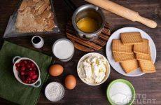 Рецепт: Чизкейк с клюквой в сахаре — в духовке