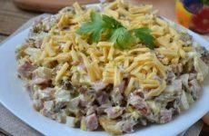 Слоеный салат из свиного сердца с шампиньонами, рецепт с фото