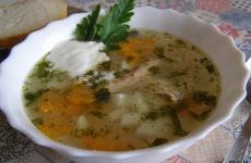 Суп с пшеничной крупой на курином бульоне