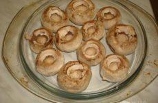 Рецепт: Запеченные грибы с начинкой — С курицей