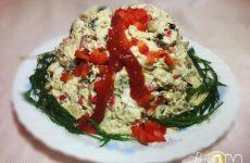 Рецепт: Салат «Вулкан» — С креветками