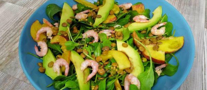 Салат с чечевицей, рукколой, креветками и авокадо, рецепт с фото и видео