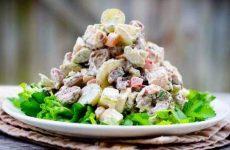 Салат из свиного сердца с фасолью и огурцами, рецепт с фото